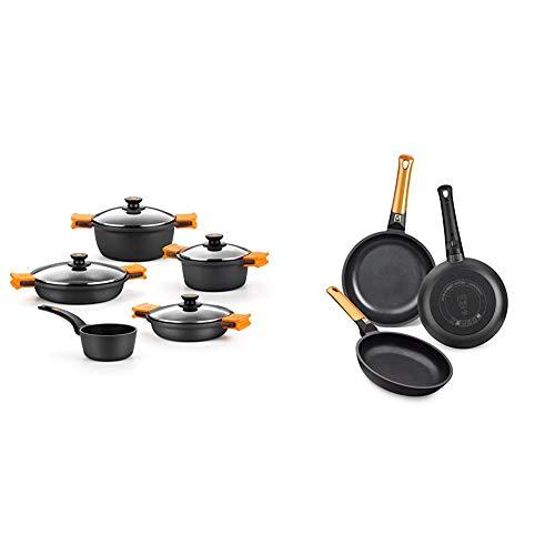 BRA Efficient - Batería 5 piezas, de aluminio fundido con antiadherente + Efficient Orange Set de 3 sartenes, Aluminio Fundido, aptas para Todo Tipo de cocinas, 20-24-28 cm