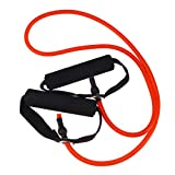 Yoga Elastic Fitness Exercise Pull Rope Exercise Resistance Bands Workout Bands with Handle for Women (Black + Green)
