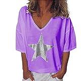 Xmiral t Shirt Donna Divertenti Top da Donna a Manica Lunga con Scollo a V e Scollo a V Tinta Unita XXXL Donna Viola