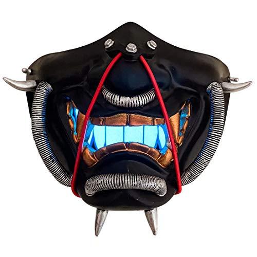 LED Light Up Japanese Prajna Mask with Metallic Wire Airsoft BB Evil Demon Kabuki Samurai Hannya Oni Half Face Cosplay Mask