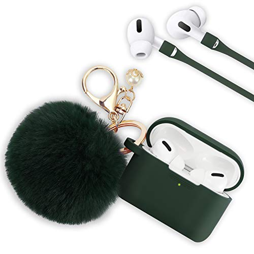 Airpods Pro Case, Filoto Airpod Pro Case Cover for Apple AirPods Pro Wireless Charging Case, Cute AirPods 3 Case Silicone Protective Accessories Keychain/Pompom/Strap (Midnight Green)
