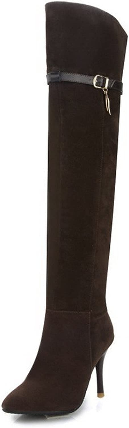 AllhqFashion Women's High-Heels Frosted High top Solid Zipper Boots