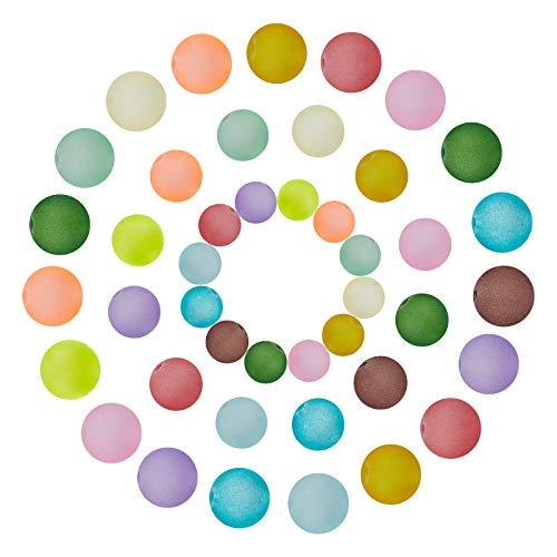 NBEADS 320 cuentas de cristal esmerilado transparentes, pequeñas cuentas espaciadoras redondas de cristal para hacer cuentas, 3 tamaños