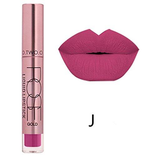 Familizo Gloss Matte Lot, Lèvres Mates Douces Liquides Gloss Lipstick Cosmetics 12 Couleurs (J, Taille: 11 * 2 * 2 cm)