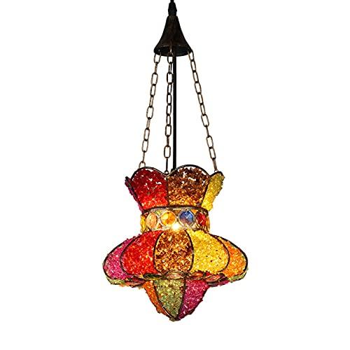 FGVBC Lámpara Colgante Boho marroquí, lámpara Colgante Decorativa de Cristal Multicolor Retro de Estilo Europeo, Altura Ajustable E271 para Sala de Estar, Comedor, cafetería