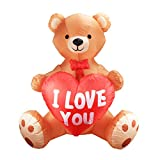 Afirst Inflatable Teddy Bear Holding Love Heart Mother's Day Romantic Gift Birthday Blow Up Wedding Decoration for Indoor Outdoor Lawn Yard Home.4FT