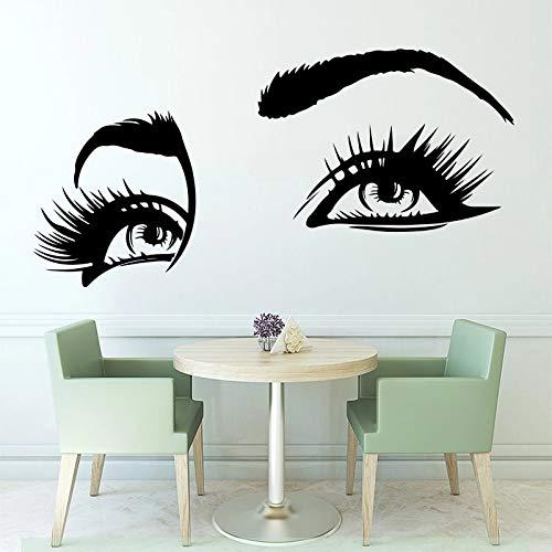 Pegatinas de pared de vinilo divertidas para ojos bonitos adecuadas para pestañas salón de belleza   Utensilios de cocina, arte de pared en la cocina, restaurante, decoración del refrigerador
