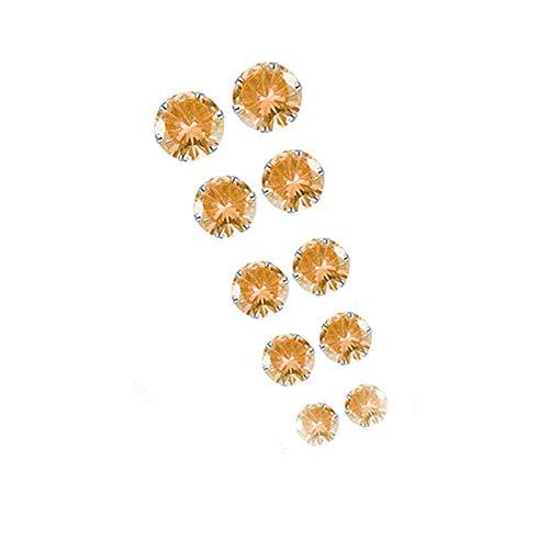 Andouy 5 Paar Mode elegante Strass Kristall Schmuck Ohrstecker(Orange)