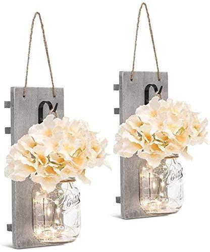 Love Aquatics Hölzerne Wandlampe kreatives Holzbrett Glas LED-Lampe Lichtsteuerung Hausgartenlaterne batteriebetriebene Kopfteil, Schlafzimmer, Terrasse,White