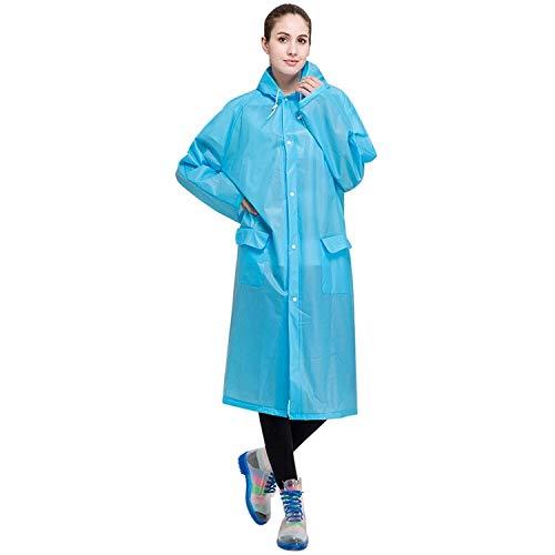 XINGRUI Rain Gear Supplies Mode pour Adultes Léger EVA imperméable Transparent Grand Chapeau à Capuchon avec Taille de Poche: L (Rose) (Color : Blue )