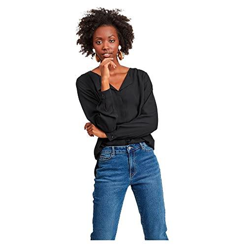 VILA CLOTHES Women's Vilucy L/s Shirt-Noos Blouse, Black (Black Black), 40 (Size: Large)