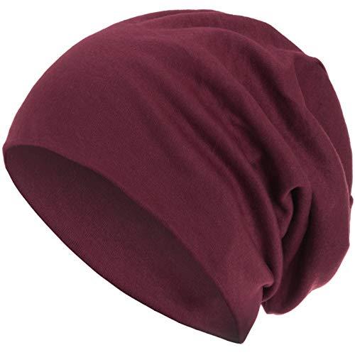 style3 Warme Herbst Winter Slouch Beanie XXL aus atmungsaktivem, feinem und leichten Jersey Unisex Mütze Wintermütze One Size, Farbe:Weinrot