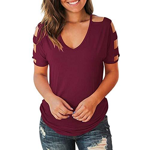 DOLAA Blusa para Mujer Blusa Casual para Mujer Básica con Cuello en V Camisetas de Manga Corta Blusa y Camisa Casual Blusa de túnica Tops Sexy con Hombros Descubiertos Blusas de Manga Corta Camisetas
