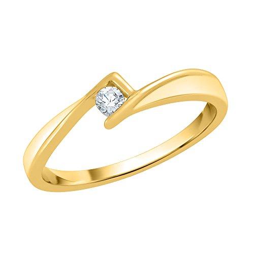 KATARINA Anillo de compromiso solitario de diamante en oro amarillo de 14 quilates (1/20 quilates, J-K, SI2-I1) (tamaño 4.5)