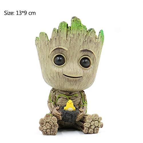 Figuren Baby Groot Puppe Blumentopf Großer Blumentopf Stifthalter PVC Hero Modell Baby Baum Mann Garten Pflanze Topf Nettes Spielzeug, Groot-Vogel