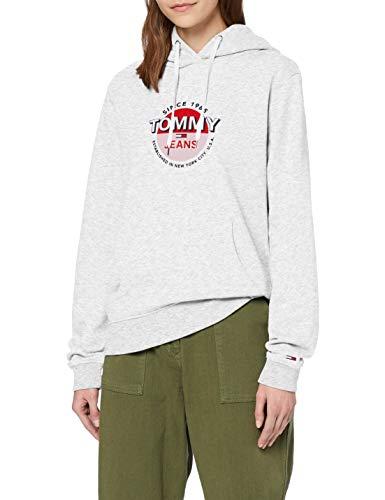 Tommy Jeans Damen Tjw Essential Logo Hoodie Pullover, Silver Grey Htr, L