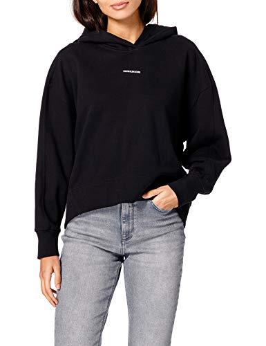 Calvin Klein Jeans Damen Micro Branding Hoodie Pullover, Ck Schwarz, L