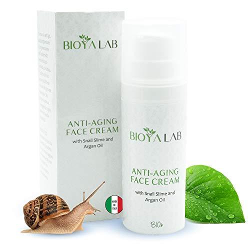 Bioya Lab Crema Viso Antirughe Donna Con Bava di Lumaca Acido Ialuronico Idratante Ed Olio D'Argan Giorno e Notte 50 Millilitri Biologica Made In Italy