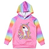 Sweatshirts for Girls Unicorn Athletic Hoodie Long Sleeve Hoody Pullover Size 8 Rainbow