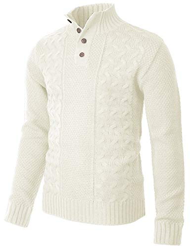 H2H Mens Casual Slim Fit Pullover Sweaters Long Sleeve Mock Neck Zip up White US M/Asia L (CMOSWL041)