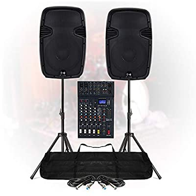 Live Stage PA Speaker Sound System 6Ch Bluetooth DJ Mixer 1200W Active + Stands