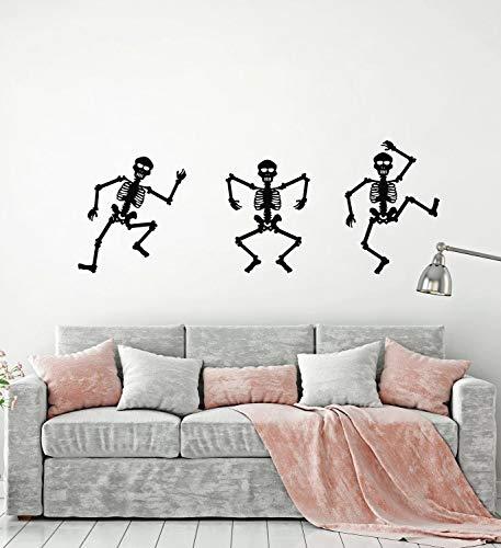 Tianpengyuanshuai Fototapeten tanzen Skelett Tod Horror Türen und Fenster Vinyl Aufkleber Teen Schlafzimmer Dekoration Wandbild 54x140cm