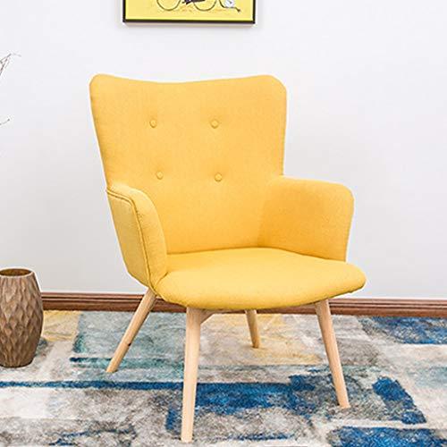Moderne Möbel-Akzentstühle für Wohnzimmer-Sofa-Stuhl-entspannende Aufenthaltsraum-Schlafzimmer-Büro-Rezeption, die Stuhl-solide Birkenholz-Beine zeitgenössisches Leinengewebe speist ( Color : Yellow )