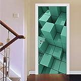 Pegatina de puerta para decoración de habitación Mural de puerta autoadhesivo Calcomanías de puerta extraíbles Arte de puerta 3D Cuadrado verde 30.3 'x78.7' (77x200cm)