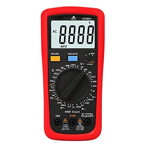 LIRRUI UT39A + UT39C + Modern Multímetro Digital Resistencia Capacitancia Frecuencia HFE NCV Prueba de Temperatura (Color : Rojo, Size : UT39A+)