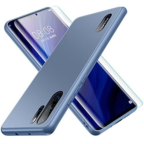 Funda para Huawei P30 Pro, Jonwelsy Lujo Suave Silicona Liquida Shockproof Proteccion Carcasa de Telefono + Mate Vidrio Templado Contraportada Case Cubierta para Huawei P30 Pro (6,47') (Azul Pacífico)