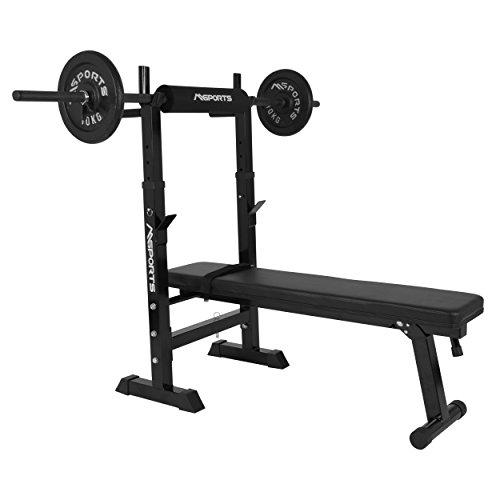 Banco de pesas profesional multifuncional plegable para barras con mancuernas de hasta 200 kg, Mancuernas ⭐