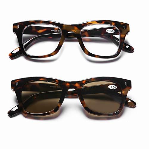 DOOViC Blaulichtfilter Lesebrille Transparente & Sonnenbrille Lesehilfe mit Stärke Braune Gläser Eckig Schildkröte Brille für Damen 1,5
