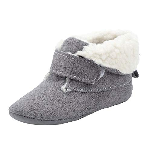 Zapatos de bebé SunGren Botas para la Nieve Suave de la suavidad del bebé Zapatos Suaves del Pesebre Botas del niño para 0-6 6-12 12-18 Mes(Gris,Años:0-6M