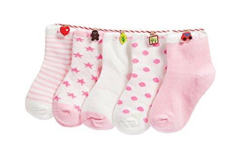 DEBAIJIA Niños Niñas Calcetines de Algodón Cómodo Suave Elasticity Absorber el Sudor primavera verano otoño Color Rosa 0-1 año (Pack de 5 Pares)
