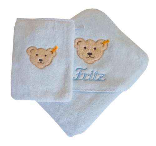 Set aus Kapuzentuch mit Ihrem Wunsch-Namen in der abgebildeten Stickschrift bestickt und Waschhandschuh, Steiff Collection, hellblau