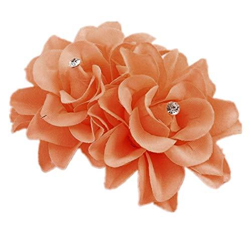 Plus Nao(プラスナオ) ヘアクリップ ヘアピン ヘアアクセサリー ヘッドドレス コサージュ フラワーモチーフ お花 髪飾り 髪留め レディース - オレンジ