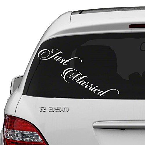 (30x10 cm) Just Married Vinyl Car Decal Design/Wedding Cling Banner Decoration Quote Sticker/Decals Back Car Window Mirror gratis Random Decal Gift