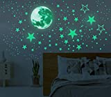 Glow in The Dark Moon and Stars Wall Stickers, 437PCS Adhesive Room Decor, Ceiling Art Stickers for Starry Sky at Night, Removable Wall Decal, Perfect for Kids' Bedroom