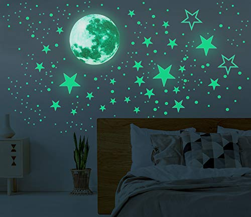 Glow in The Dark Moon and Stars Wall Stickers, 437PCS Adhesive Room Decor, Ceiling Art Stickers for...