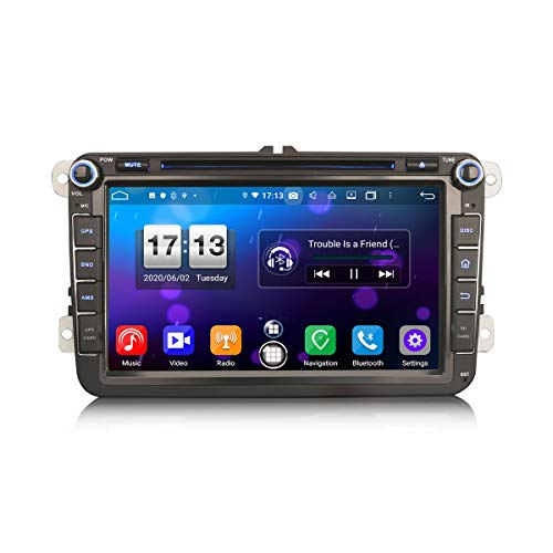ERISIN 8 Zoll Android 10.0 Autoradio für VW Passat Caddy Golf Tiguan Bora Seat Superb Unterstützt GPS-Navi Carplay Android Auto DSP Bluetooth A2DP DVB-T/T2 WiFi DAB+ 8-Core 4GB RAM+64GB ROM