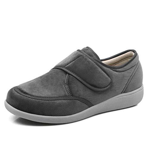 Zeer brede echtedamesschoen voor dames, verstelbare casual sportschoenen, diabetesverzorgingsschoenen-grijs_UK5.5, ouderengezwollen voeten Diabetes