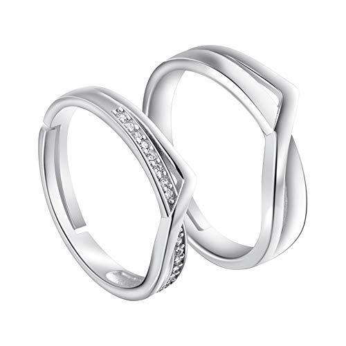Ostory 指輪 個性的な シンプル キラキラ ペアリング シルバー925純銀製 ペア指輪 カップル リング 婚約リング 婚約指輪 スライド調整 フリーサイズ レディース メンズ アクセサリー
