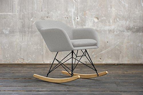 KAWOLA schommelstoel Stella schommelstoel stof lichtgrijs