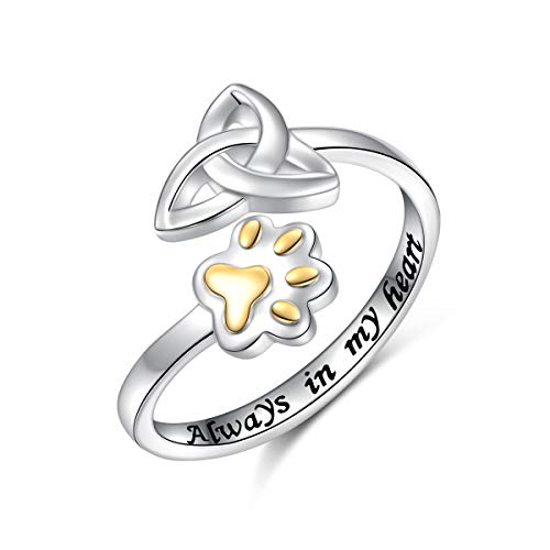 FLYOW S925 Sterling Silver Adjustable Animal Rings for Women(Paw and Celtic Knot)