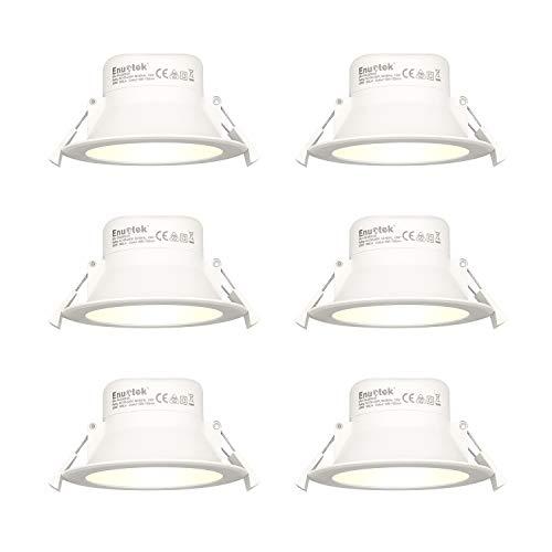 LED Spots Einbaustrahler Bad Einbauleuchten Flach 10W IP44 für Feuchtraum Warmweiß 3000K Lochmaß 90-105MM Durchmesser 6er Pack von Enuotek