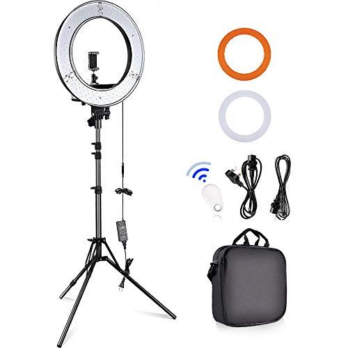 """Anillo de luz LED, 18""""Exterior 55W 5500K Regulable LED Ring Light Kit Fotografía Profesional Kit de Iluminación con 2M Soporte de Luz y Receptor Bluetooth para Retrato Fotografía de Moda"""