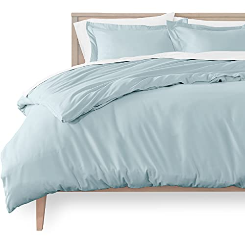 Bare Home Duvet Cover and Sham Set - Queen Size - Premium 1800 Ultra-Soft Brushed Microfiber - Hypoallergenic, Easy Care, Wrinkle Resistant (Queen, Light Blue)