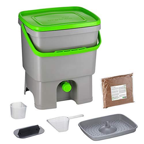 Skaza Bokashi Organko (16 L) Garten- und Küchenkomposter aus Recyceltem Kunststoff | Starterset mit EM Fermentationsaktivator 1 kg (Grau-Grün)