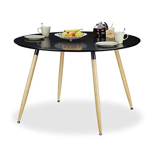 Relaxdays, 75 x 120 cm, Negro Mesa Comedor Redonda Grande Arvid, Mueble Cocina, DM-Madera-Metal