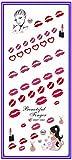 Nail Art Beauty Water Decal Slider Nail Sticker Flower Triple Colors Angel KISS ELF Lip Stick HOT079-084 - (Color: HOT082)